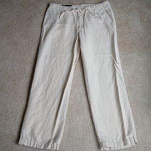 Perry Ellis size 34 light tan linen blend pants
